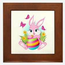 Pink Easter Bunny Framed Tile