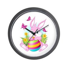 Pink Easter Bunny Wall Clock