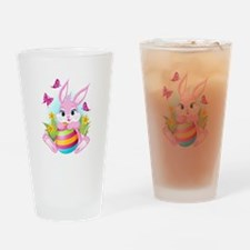 Pink Easter Bunny Drinking Glass