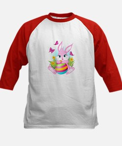 Pink Easter Bunny Kids Baseball Jersey