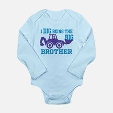 I Dig Being a Big Brot Long Sleeve Infant Bodysuit