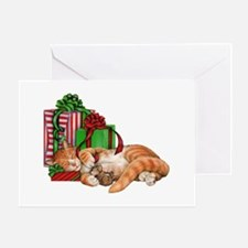 Cute Cat, Mouse And Christmas Greeting Cards