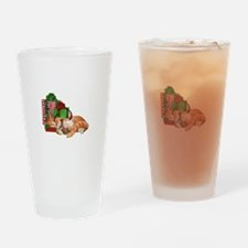 Cute Cat, Mouse And Christmas Drinking Glass