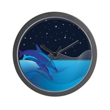 Dolphins by Night Wall Clock