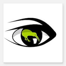 """Green eye kiwi watch Square Car Magnet 3"""" x 3"""""""