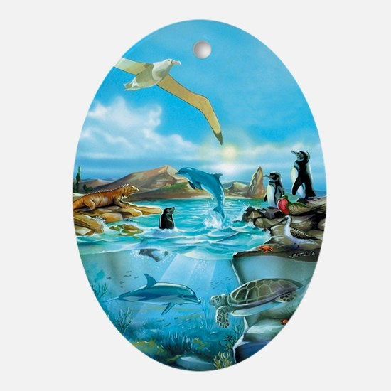 Galapagos Animals Oval Ornament