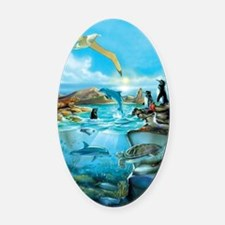 Galapagos Animals Oval Car Magnet
