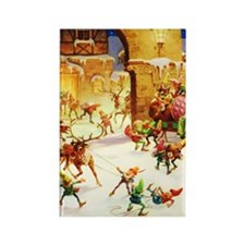 Santa's Elves Ready His Sleigh at Rectangle Magnet