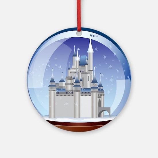 Castle Snow Globe Round Ornament