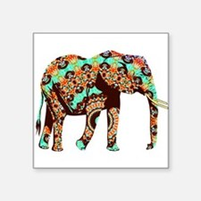 Cool Orange,Brown and Turquoise Elephant Sticker
