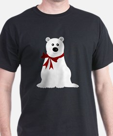 Cute Polar Bear with Red Bow Christma T-Shirt