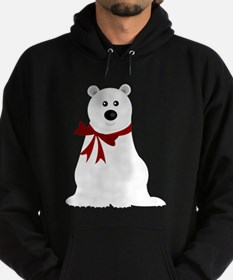Cute Polar Bear with Red Bow Christm Hoodie