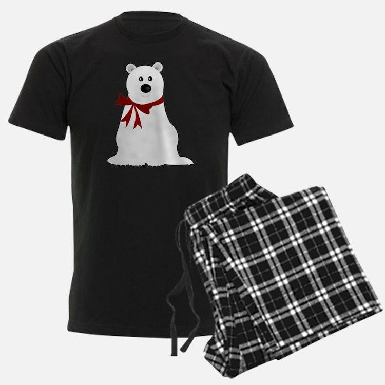 Cute Polar Bear with Red Bow C Pajamas