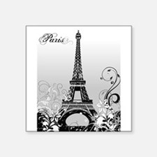 "Eiffel Tower Paris (B/W) Square Sticker 3"" x 3"""