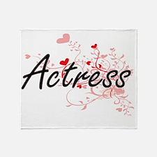 Actress Artistic Job Design with Hea Throw Blanket