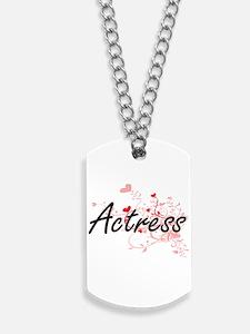 Actress Artistic Job Design with Hearts Dog Tags