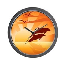 Dolphin Sunset Wall Clock