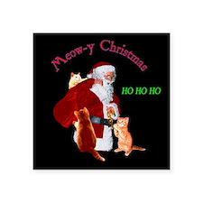 """Santa And Cats Square Sticker 3"""" x 3"""""""