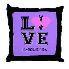 Love Cheer purple Throw Pillow