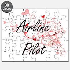 Airline Pilot Artistic Job Design with Hear Puzzle
