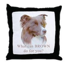 Border Collie BROWN Throw Pillow