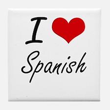 I Love Spanish artistic design Tile Coaster