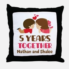 5th Anniversary 5 Years Together Throw Pillow
