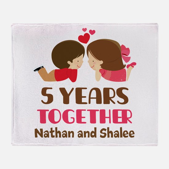 5th Anniversary 5 Years Together Throw Blanket