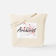 Archivist Artistic Job Design with Hearts Tote Bag