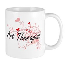 Art Therapist Artistic Job Design with Hearts Mugs