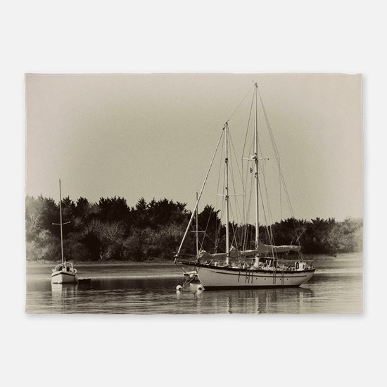 Anchored Sailboats 5'x7'area Rug