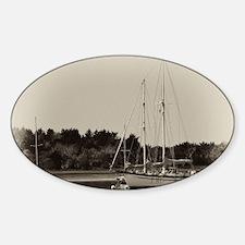 Anchored Sailboats Sticker (oval)