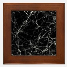 Black marble stone gray accents Framed Tile