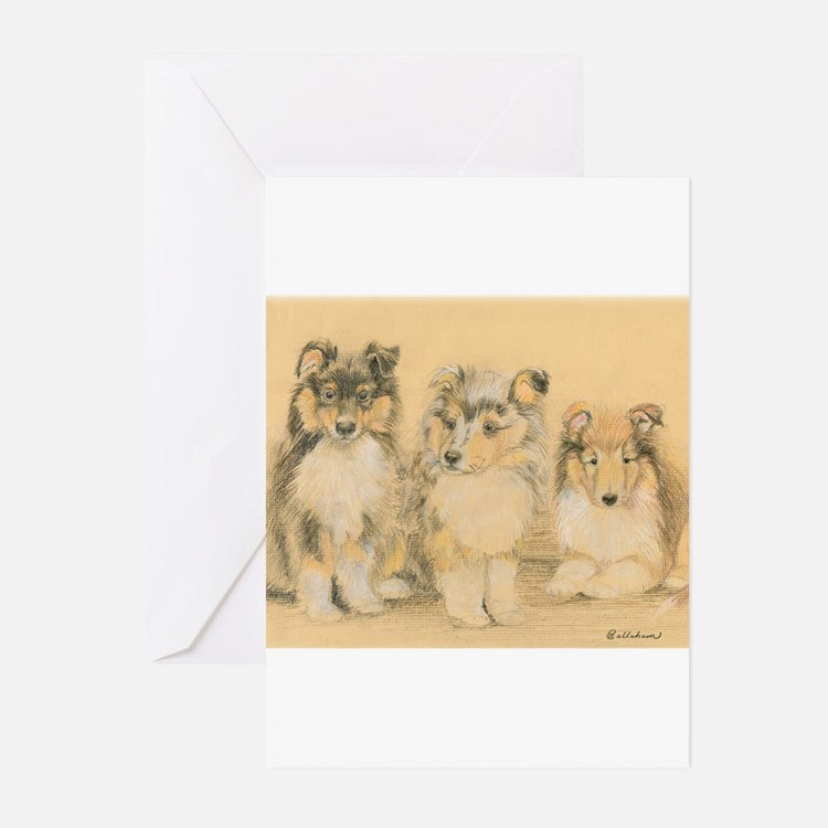 Cute Collie puppy Greeting Cards (Pk of 10)