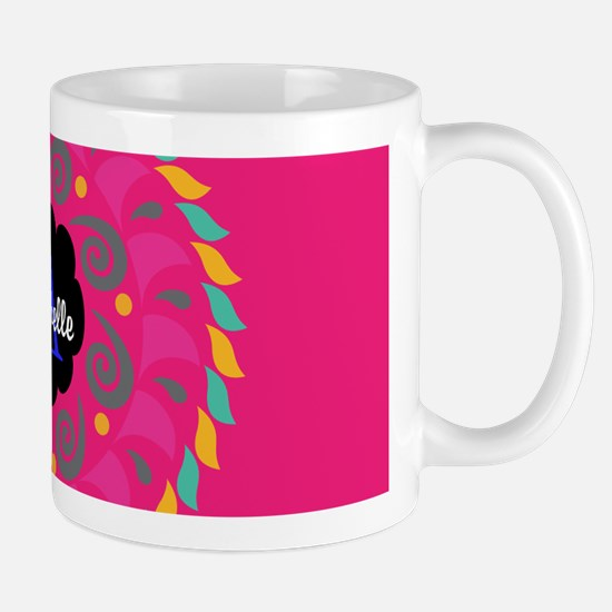 Hot Pink Personalized Monogram Mugs
