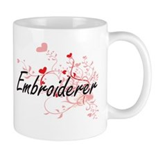 Embroiderer Artistic Job Design with Hearts Mugs