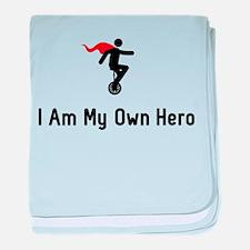 Unicycling Hero baby blanket
