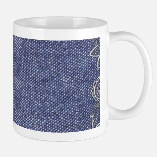 swirls western country blue denim Mugs