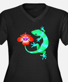 Blue and Green Jungle Lizard wit Plus Size T-Shirt