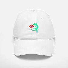 Blue and Green Jungle Lizard with Orange Hibis Baseball Baseball Cap