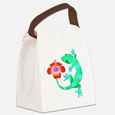 Blue and Green Jungle Lizard with Canvas Lunch Bag