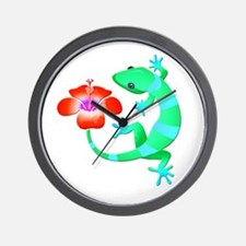 Blue and Green Jungle Lizard with Orang Wall Clock
