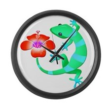 Blue and Green Jungle Lizard with Large Wall Clock