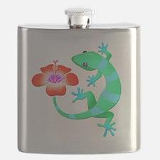 Blue and Green Jungle Lizard with Orange Hib Flask