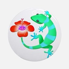Blue and Green Jungle Lizard with O Round Ornament