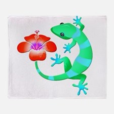 Blue and Green Jungle Lizard with Or Throw Blanket