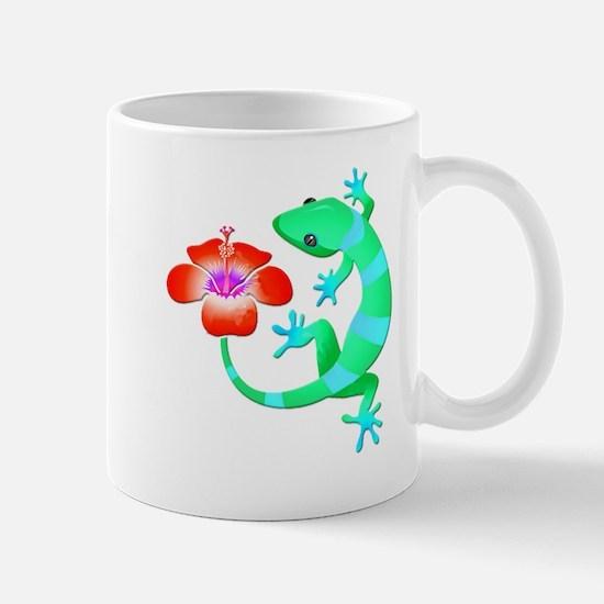Blue and Green Jungle Lizard with Orange Hibi Mugs