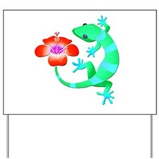Blue and Green Jungle Lizard with Orange Yard Sign