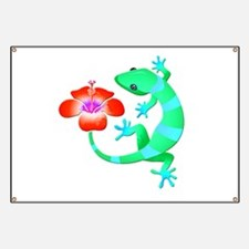 Blue and Green Jungle Lizard with Orange Hi Banner