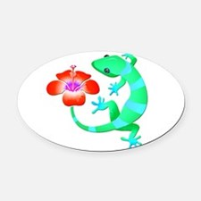 Blue and Green Jungle Lizard with Oval Car Magnet